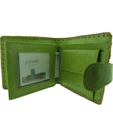 Peacock Embroidery Vegan Leather Wallet Medium Inside