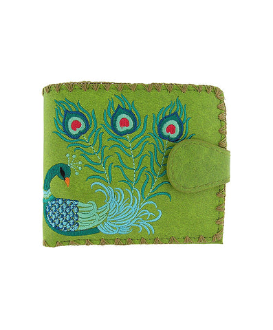 Peacock Embroidery Vegan Leather Wallet Medium Green