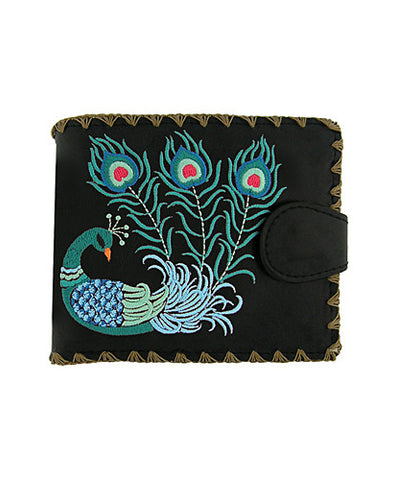 Peacock Embroidery Vegan Leather Wallet Medium Black