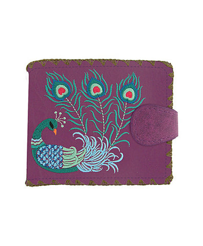 Peacock Embroidery Vegan Leather Wallet Medium Purple