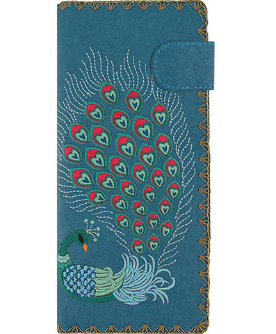 Peacock Vegan Leather Wallet with Embroidery Blue