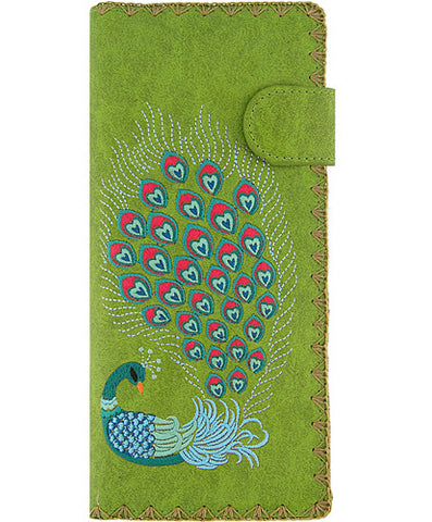 Peacock Vegan Leather Wallet with Embroidery Green