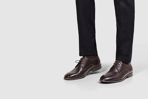 Plain Toe Shoe Brown Worn Look