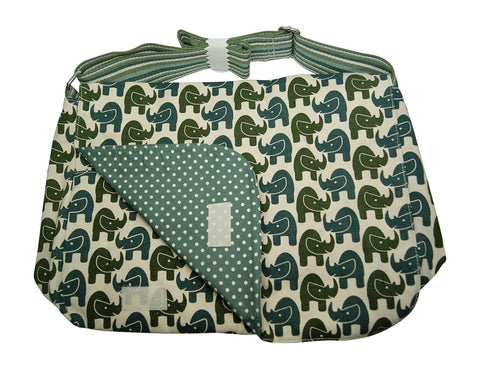 Rhino Print Large Flap Messenger Bag