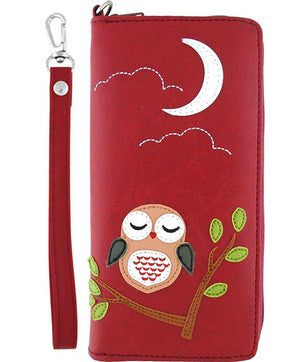 Sleepy Owl Vegan Leather Wristlet Wallet by Lavishy - Compassionate Closet