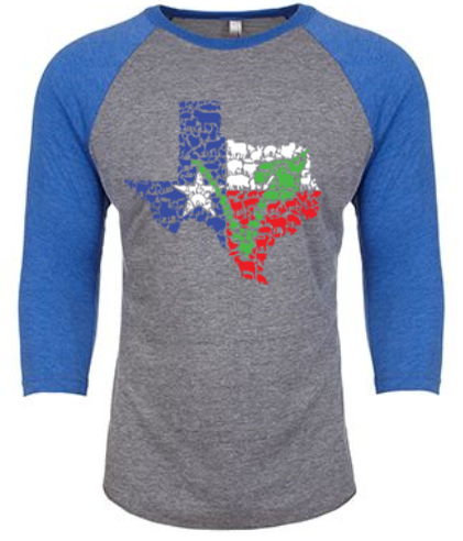 Texas Vegan Animal Flag Unisex Raglan Shirt by Compassionate Closet