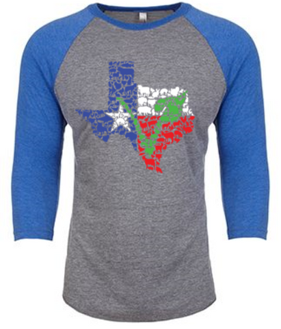 Texas Vegan Animal Flag Unisex Raglan Shirt by Compassionate Closet - Compassionate Closet