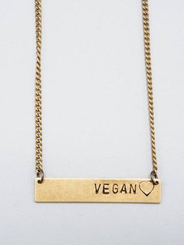 Vegan Bar with Heart Necklace by Mishakaudi - Compassionate Closet