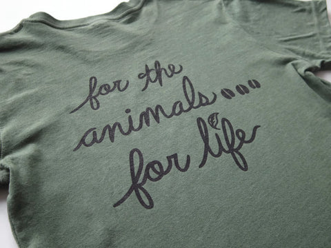 Vegan For Life/The Animals Cow T-shirt Women's Asparagus Color