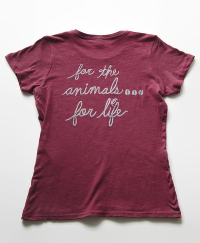 Vegan For Life/The Animals Cow T-shirt Women's Berry Color