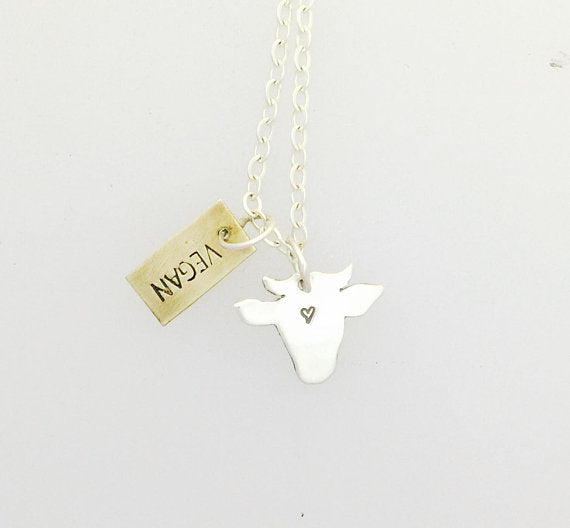 Vegan Mini Cow Head Necklace by Christy Robinson Designs - Compassionate Closet