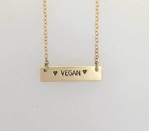 Vegan Yellow Gold-Filled Necklace by Christy Robinson Designs - Compassionate Closet