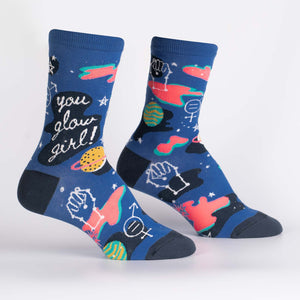 You Glow Girl Women's Crew Socks by Sock it To Me