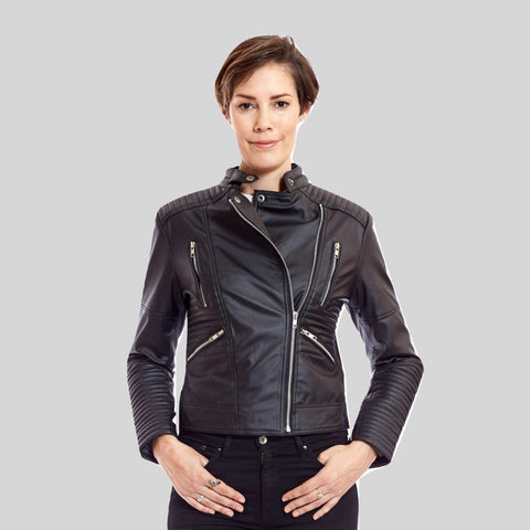 Zoe Vegan Leather Biker Jacket by James & Co. - Compassionate Closet