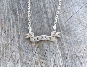 Vegan Banner Necklace by Christy Robinson Designs - Compassionate Closet