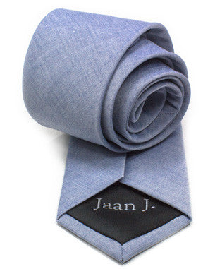 Light Blue Cotton Tie by Jaan J. - Compassionate Closet