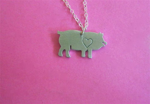 Christy Robinson Mini Pig with Heart Necklace