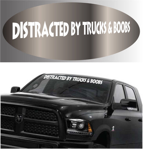 Funny Truck Lover Decal Distracted By Trucks Sticker Banner Custom Car Decals Car Stickers