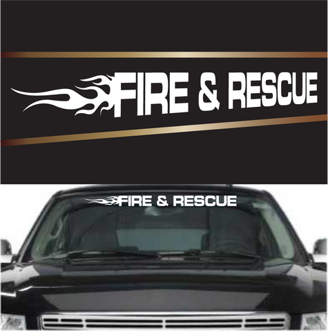 Fire & Rescue Flame Custom Window Decals Custom Car Decals Car Stickers