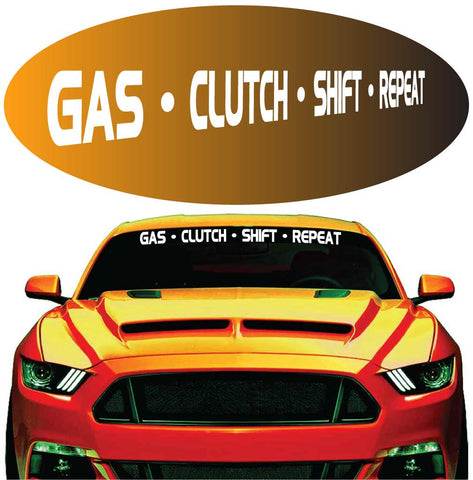 Gas clutch shift repeat decal windshield banner auto car truck custom car decals car stickers