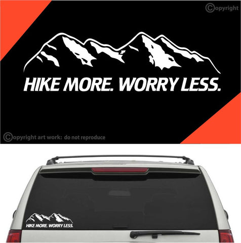 Hike More Worry Less Auto Decal Car Sticker Custom Car Decals Car Stickers