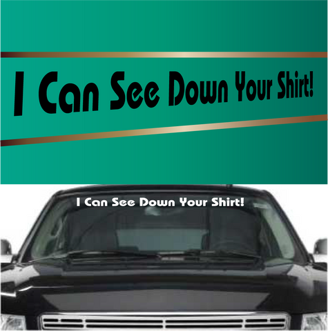 I Can See Down Your Shirt Funny Windshield Decals Custom Car Decals Car Stickers