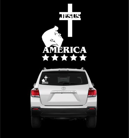 Jesus Trump America Donald Trump Sticker Decal Custom Car Decals Car Stickers