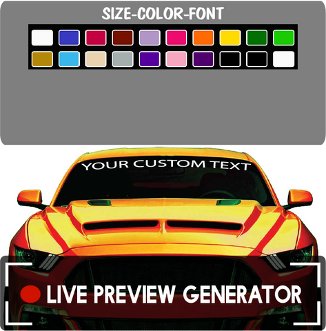 Custom Windshield Lettering Car Truck Jeep Live Preview Generator Custom Car Decals Car Stickers