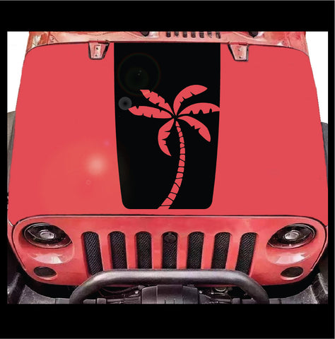 Palm Tree Hood Decal- Fits Jeep Wrangler JK LJ TJ Custom Car Decals Car Stickers