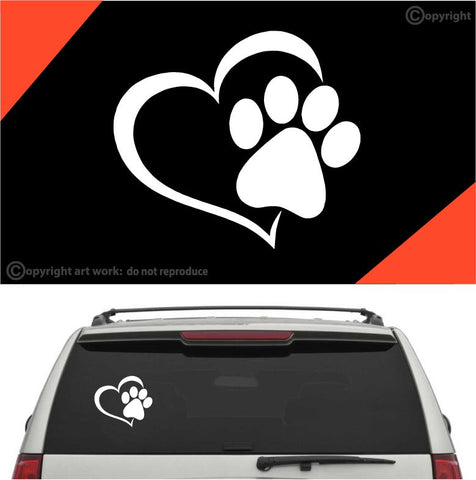 Paw Heart Dog Cat Auto Decal Car Sticker Custom Car Decals Car Stickers