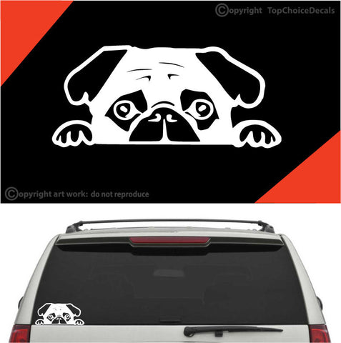 Peeking Pug Puppy Auto Decals Car Stickers Custom Car Decals Car Stickers