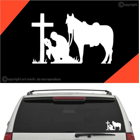 Praying Cowboy Decal Car Sticker #A1 Custom Car Decals Car Stickers