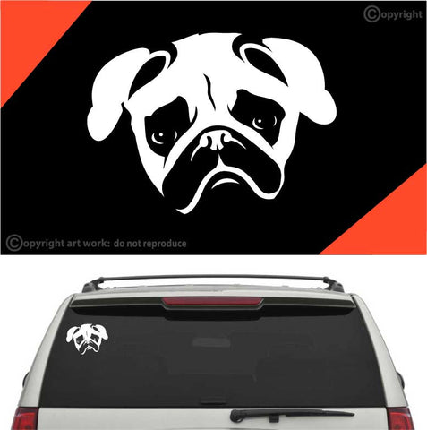Pug Face Decal Car Sticker #A1 Custom Car Decals Car Stickers