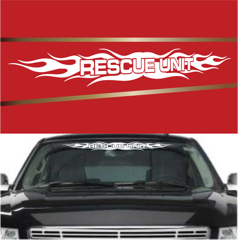 Rescue Unit Flames Automobile Windshield Banner Decal Custom Car Decals Car Stickers