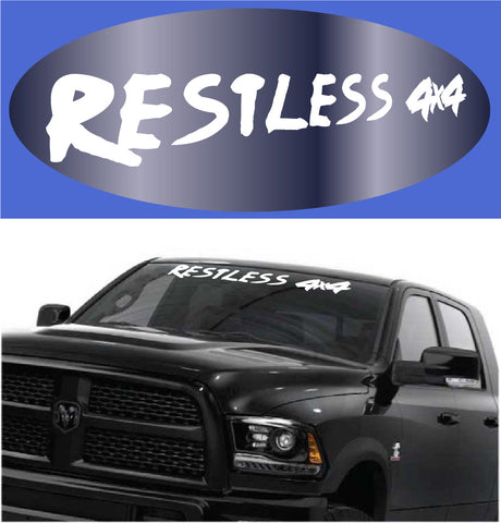 Restless 4x4 Windshield Decal Lettering Custom Car Decals Car Stickers