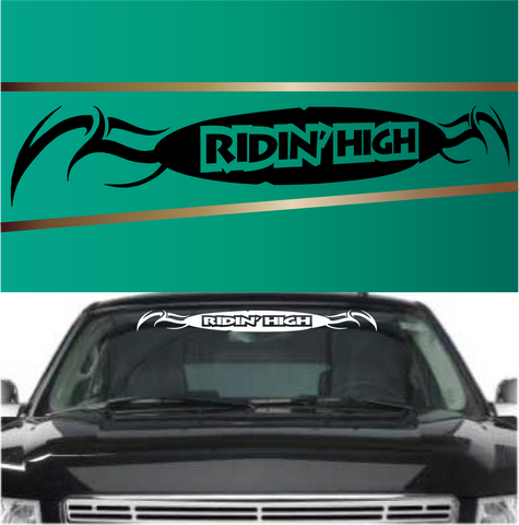 Ridin' High Tribal Automobile Windshield Banner Decal Custom Car Decals Car Stickers