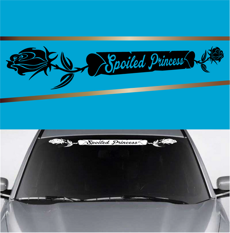 Spoiled Princess Rose Heart Automobile Windshield Banner Decal Custom Car Decals Car Stickers