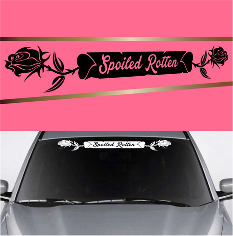 Spoiled Rotten Rose Heart Automobile Windshield Banner Decal Custom Car Decals Car Stickers
