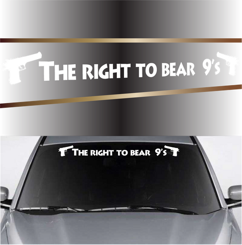 The Right To Bear 9's Gun Windshield Vinyl Decal Banner Custom Car Decals Car Stickers