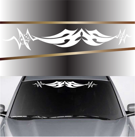 Tribal With Dice Automobile Windshield Banner Decal Custom Car Decals Car Stickers