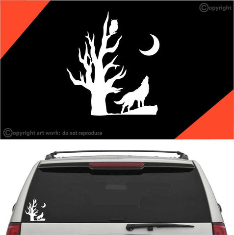 Wolf howling under moon car sticker decal custom car decals car stickers