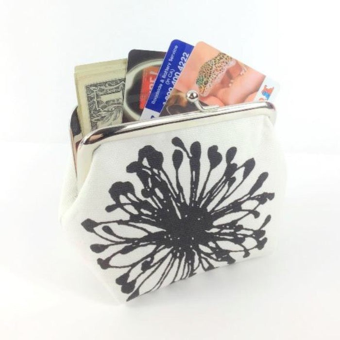 Coin Purse - Black & White Dandilions