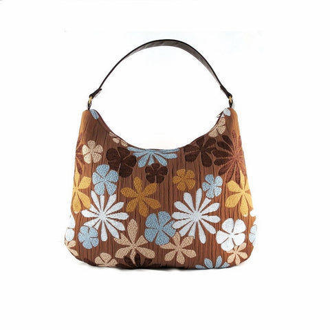 Victoria Hobo Bag Blue & Brown Floral