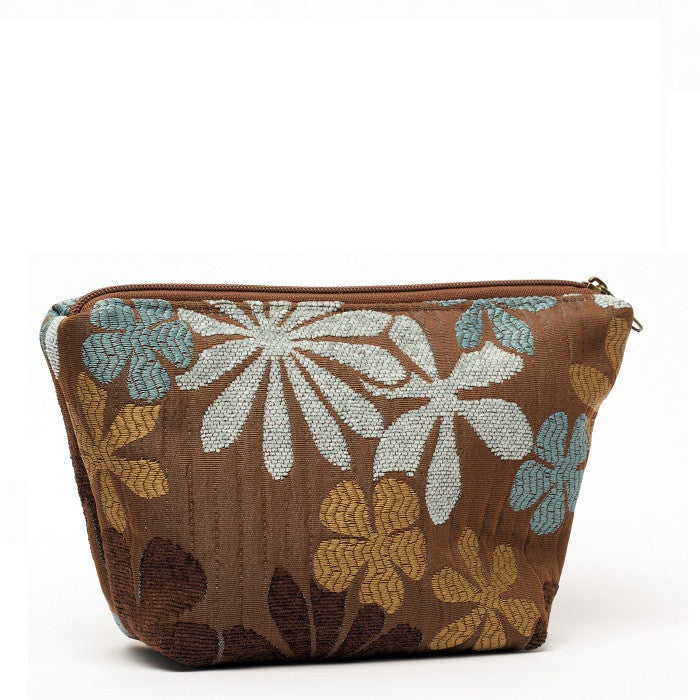 Cyndi Cosmetic Bag Blue/Brown Flower