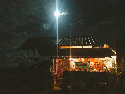 The nine by sixteen foot love shack under a full moon