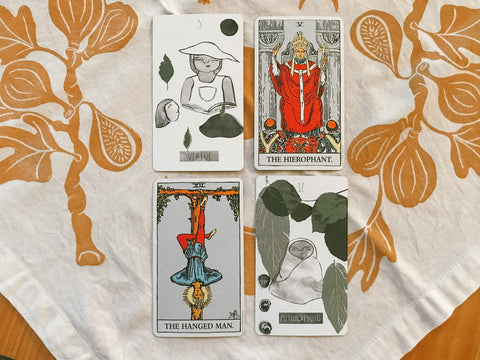 Two cards from The Future Ancestor Deck that have been reimagined based off of the traditional Rider-Waite-Smith tarot