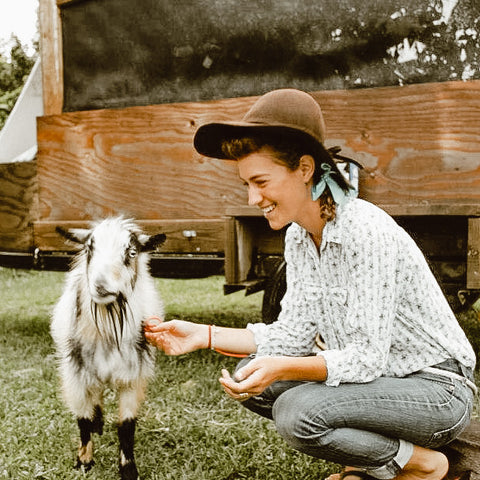 My first Halloween as a goat-mom, dressed as Ellie May Clampett.