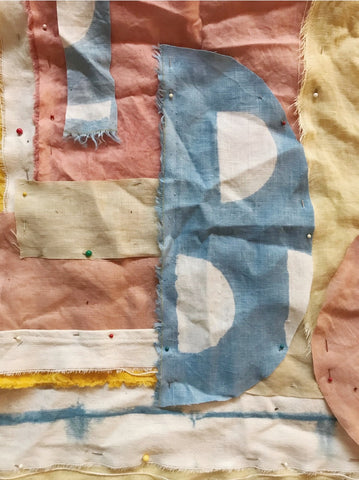 Creating a quilt square using plant dyed linen scraps from the studio