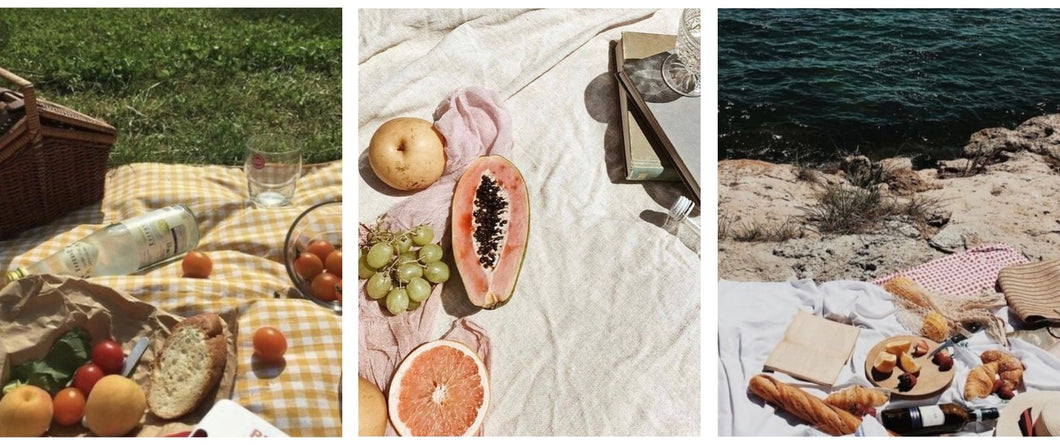 Three images currently inspiring the work of Hina Luna, showing dreamy scenes of picnics in the sun and by the sea. Haley is currently inspired by Mediterranean style al fresco dining and the practice of leisurely meals and good rest.