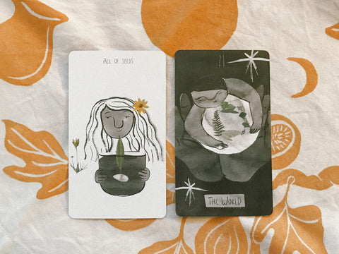 Two cards pulled for the collective from the Future Ancestor Tarot Deck